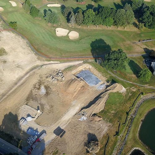 Aerial view of new chapel location before being relocated