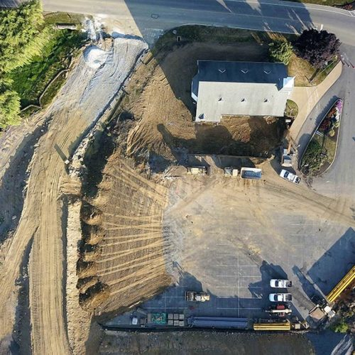 Aerial view of new chapel location after being relocated